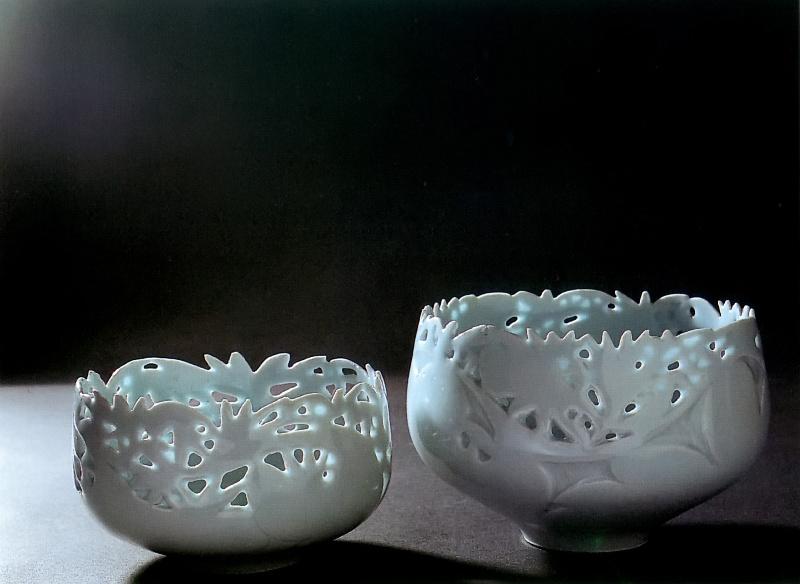 Bols ajourés de feuillages (porcelaine - Valérie Hermans)